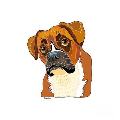 Boxer Dog Digital Art - Baron The Boxer by Laura Nikiel - PetLoveStudio