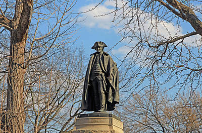 Photograph - Baron Von Steuben Statue In Lafayette Square With Barren Trees by Cora Wandel