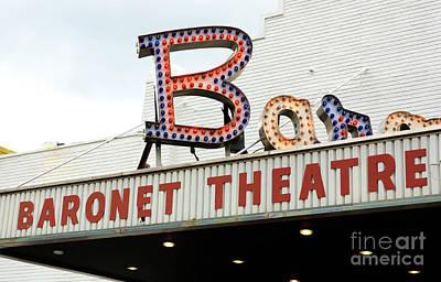 Photograph - Baronet Theater Neon Lights by John Rizzuto
