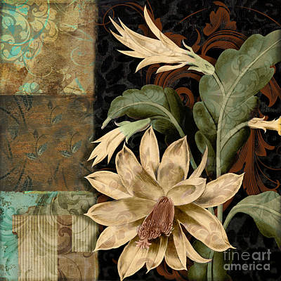 Cactus Flower Painting - Baroque Cactus Orchid Patchwork by Mindy Sommers