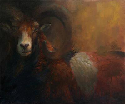 Painting - Baroque Mouflon Portrait by Attila Meszlenyi