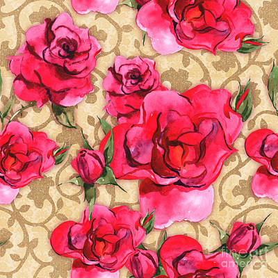 Fabric Mixed Media - Baroque Roses, Painterly Roses Against Damask by Tina Lavoie