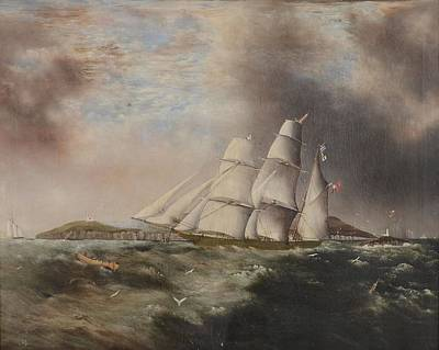 Barque Heading Out Off Anglesea In Choppy Seas Art Print by Samual Walters