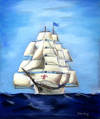 Hdr Drawing - Barque New Orleans by Steve Ellenburg