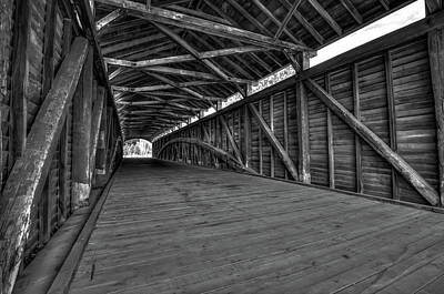 Photograph - Barrackville Covered Bridge Architecture - Black And White by Gregory Ballos