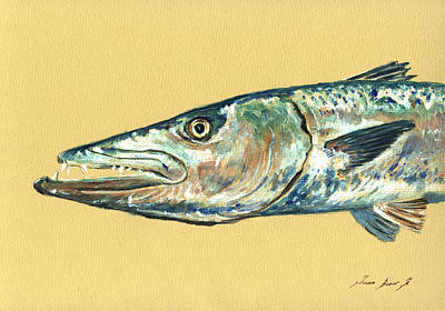 Barracuda Fish Art Print by Juan  Bosco