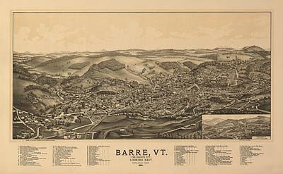 Vermont Drawing - Barre Vermont 1891 by Mountain Dreams