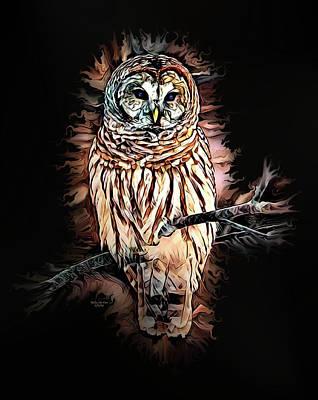 Digital Art - Barred Owl  by Artful Oasis