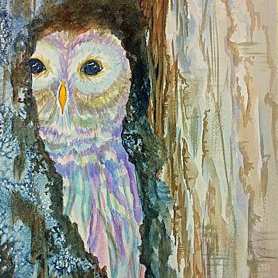 Painting - Barred Owl Inside A Tree Cropped  by Ellen Levinson