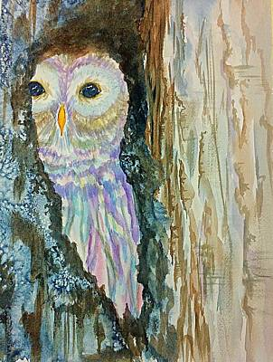 Painting - Barred Owl Inside A Tree by Ellen Levinson