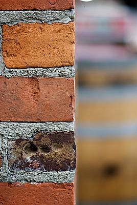 Photograph - Barrel Behind Bricks by Lisa Knechtel