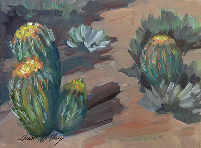 Art Print featuring the painting Barrel Cactus At Tortilla Flat by Diane McClary