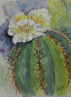 Painting - Barrel Cactus In Bloom by Marilyn Barton