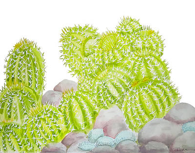 Cactus Wall Art - Painting - Barrel Cactus by Roleen Senic