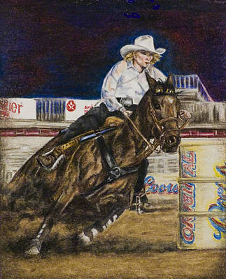 Drawing - Barrel Racer by Laurie Tietjen