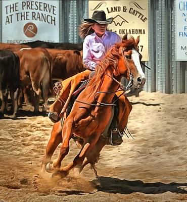 Photograph - Barrel Racing Cowgirl by Studio Artist