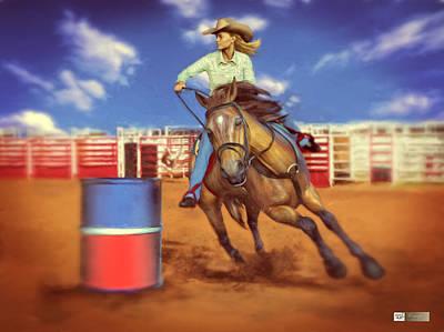 Beautiful Western Cowgirl Painting - Barrel Racing by Earl Ricks