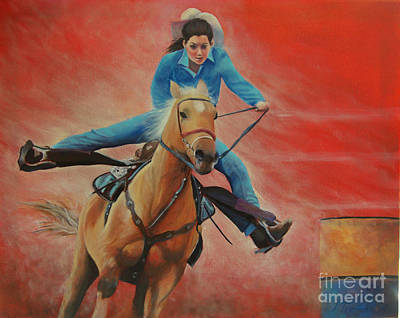 Painting - Barrel Racing by Jeanette French