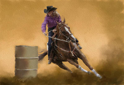 Pastel - Barrel Racing by Kathie Miller
