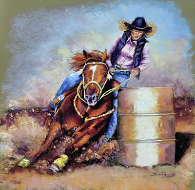 Barrel Racing Pastel - Barrel Rider by Susan Jenkins