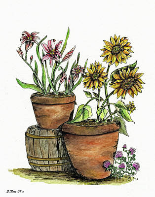 Painting - Barrel'n Flowers by Shari Nees