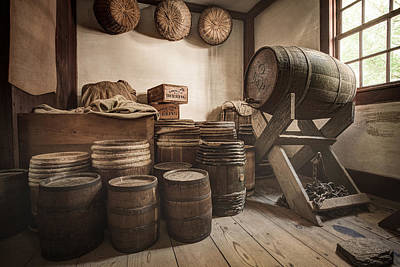 Print featuring the photograph Barrels By The Window by Gary Heller