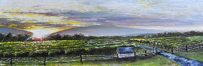 Pallet Knife Painting - Barren Ridge Sunset by Ryan Yancey