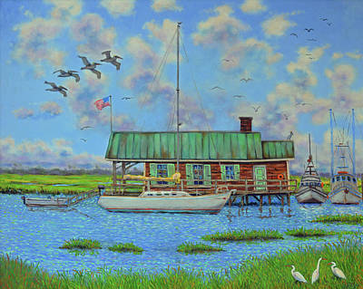 Painting - Barriar Island Boathouse by Dwain Ray