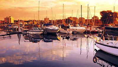 Barrie Marina Sunrise Print by John  Bartosik