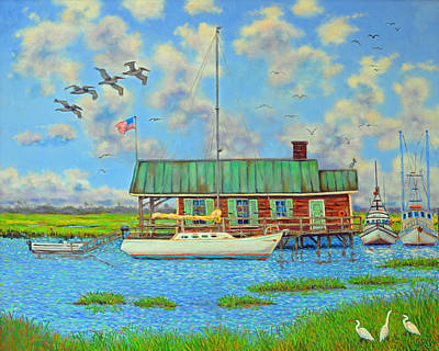 Painting - Barrier Island Boathouse by Dwain Ray