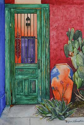Painting - Barrio Green Door by Jean Sumption