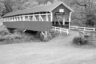 Photograph - Barron's Covere Bridge In Black And White by Adam Jewell