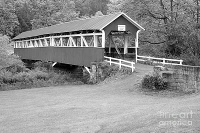 Photograph - Barronvale Covered Bridge Black And White by Adam Jewell