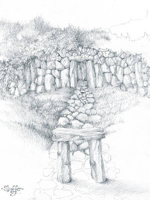 Art Print featuring the drawing Barrow Tomb by Curtiss Shaffer