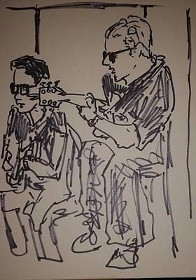 Valdes Drawing - Barry Finnerty Johnny Valdes Jam by James Christiansen