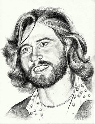 Eric Clapton Wall Art - Painting - Barry Gibb Portrait by Suzann's Art