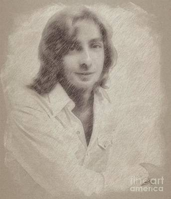 Musicians Drawings Rights Managed Images - Barry Manilow, Musician Royalty-Free Image by Esoterica Art Agency