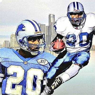 Detroit Lions Drawing - Barry Sanders - Detroit Lions by Bob Smerecki