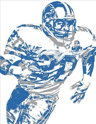 Lion Mixed Media - Barry Sanders Detroit Lions Pixel Art 1 by Joe Hamilton