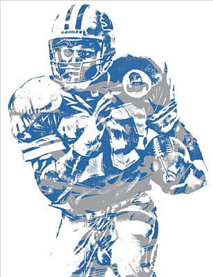 Barry Mixed Media - Barry Sanders Detroit Lions Pixel Art 2 by Joe Hamilton