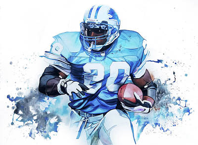 Barry Sanders Gridiron Greats Art Print
