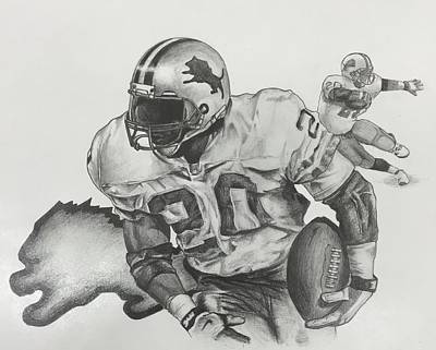 Detroit Lions Drawing - Barry Sanders by Justin Ramsey