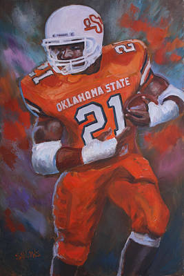 Barry Sanders, Oklahoma State Art Print by Nora Sallows