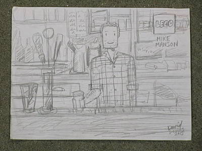 Lego Drawing - Bartender Drawing by David Lovins