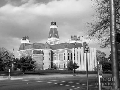 1874 Digital Art - Bartholomew County Courthouse Columbus Indiana - Black And White by Scott D Van Osdol