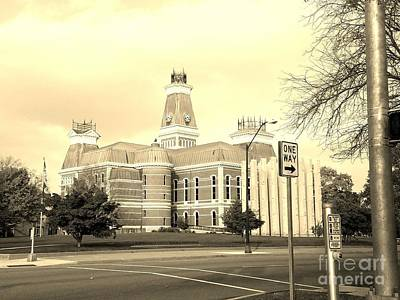 Southern Indiana Digital Art - Bartholomew County Courthouse Columbus Indiana - Sepia by Scott D Van Osdol