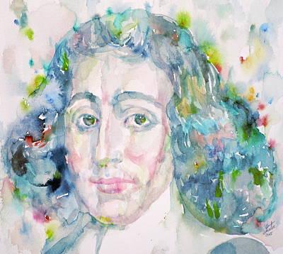 Baruch Spinoza - Watercolor Portrait Original by Fabrizio Cassetta