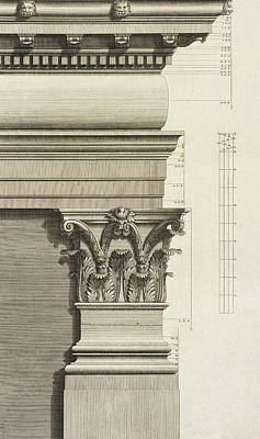 Pillar Drawing - Base, Capital And Entablature Of The Pilaster by Giovanni Battista Borra