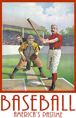 Baseball America Pastime Tee Art Print by Edward Fielding