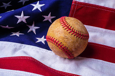 Baseball Art Photograph - Baseball And American Flag by Garry Gay